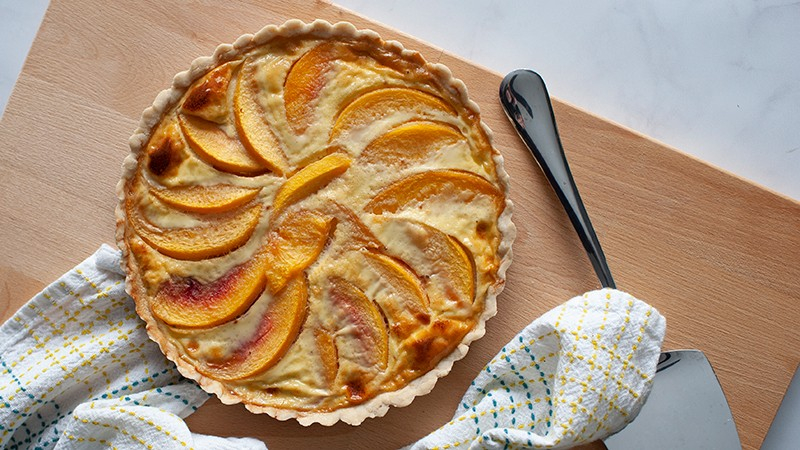 Low-Carb Custard Peach Tart